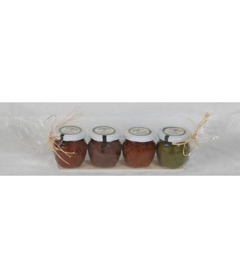 Lot de 4 pots 90g -     Pistou Génois     Pesto Rosso pâte d'olive noire Arrabiata