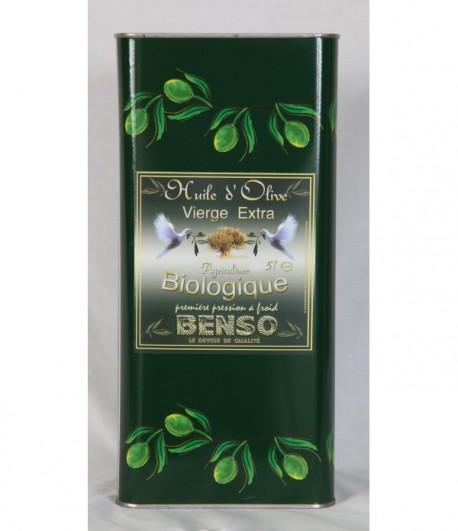 Huile d'olive biologique Benso Nouvelle Récolte 2020 - 5 litres